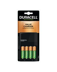 Duracell Battery, Coppertop Rechargeable Chargers w/ Stay charged Batteries, Nickel Metal Hydride, AA, PK4