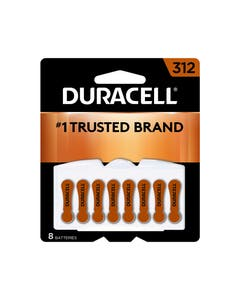 Duracell Battery, Coppertop Hearing Aid, Zinc Air, 312, Easy Tab, 8-Pack