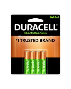 Duracell Battery, Coppertop Rechargeable Stay charged, Nickel Metal Hydride, AAA, PK4