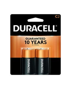 Duracell Battery, Coppertop, Alkaline, C, Pack of 2